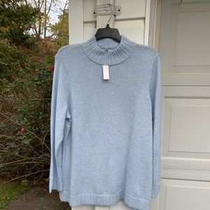 NWT Talbots Super Soft Pretty Blue Heathered Mock